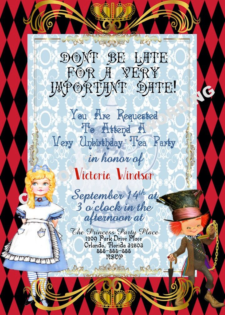 ALICE IN WONDERLAND inspired Tea Party Invitation Fairytale Party ...
