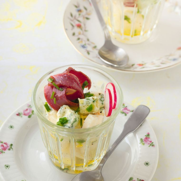 Verrines fruitées roquefort / canard