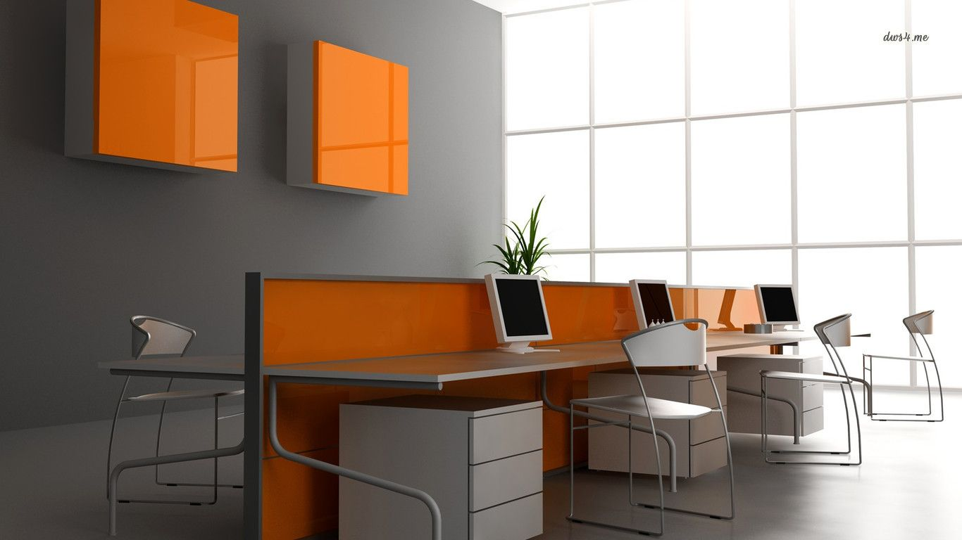 Hd wallpaper orange office artistic desktop wallpaper for Wallpaper home office