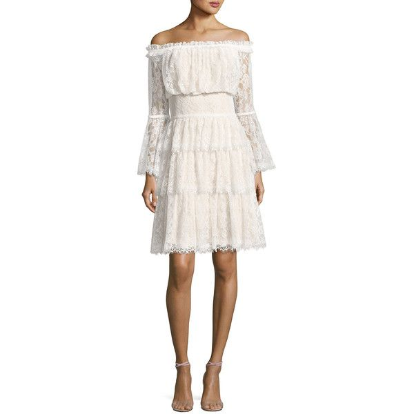 Tadashi Shoji Off-the-Shoulder Tiered Lace Cocktail Dress ($490) ❤ liked on Polyvore featuring dresses, ivory petal, long floral dresses, ivory lace dress, white off the shoulder dress, lace dress and long cocktail dresses