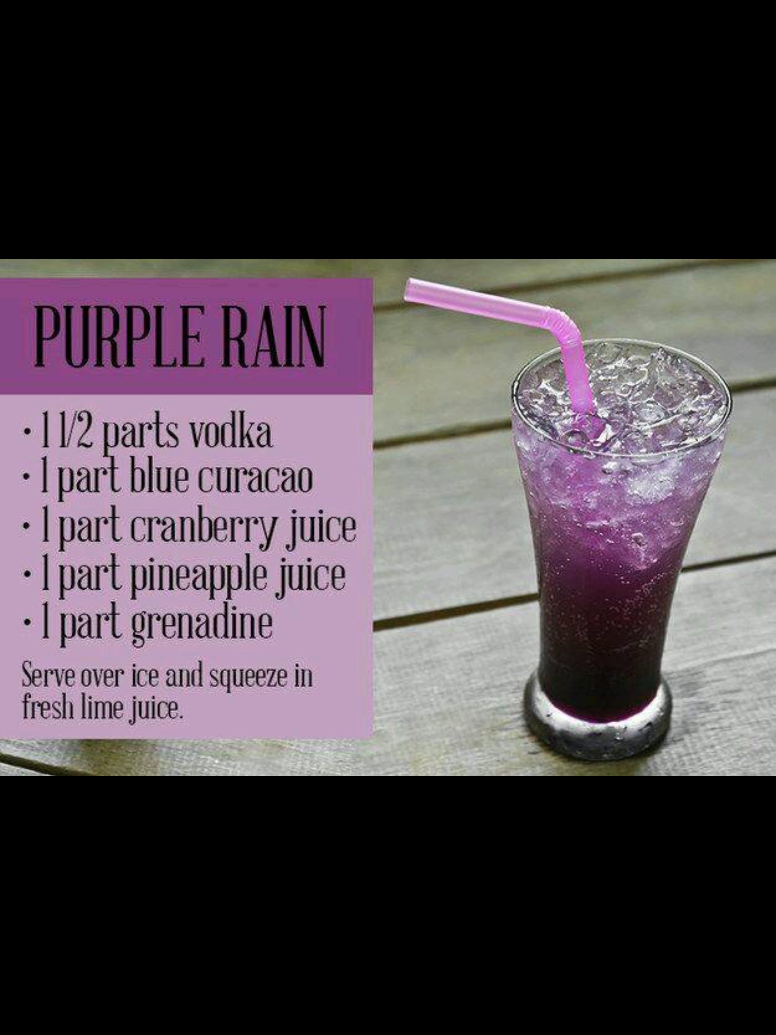 Purple Rain Alcohol Drink Recipes Vodka Cocktails Bar Drinks