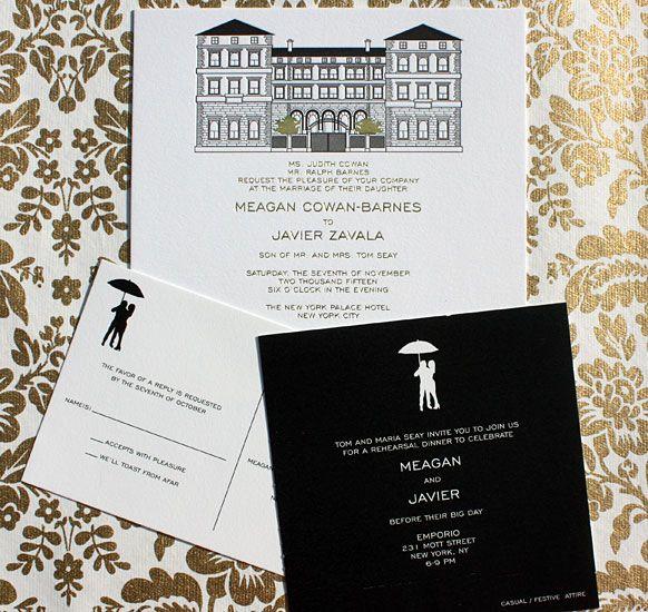 Megan And Javier Palace Hotel Wedding Invitation With Custom Illustration By Victoria Neiman