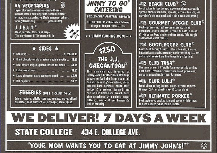 graphic about Jimmy Johns Printable Menu titled Jimmy Johns Sandwich Menu - Excellent Sandwich 2017 within just Jimmy