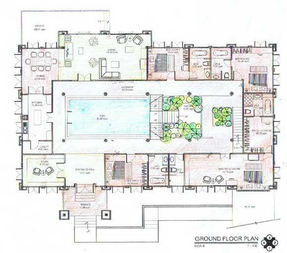 Roman Villa Floor Plan Courtyard House Plans Roman House Underground Homes