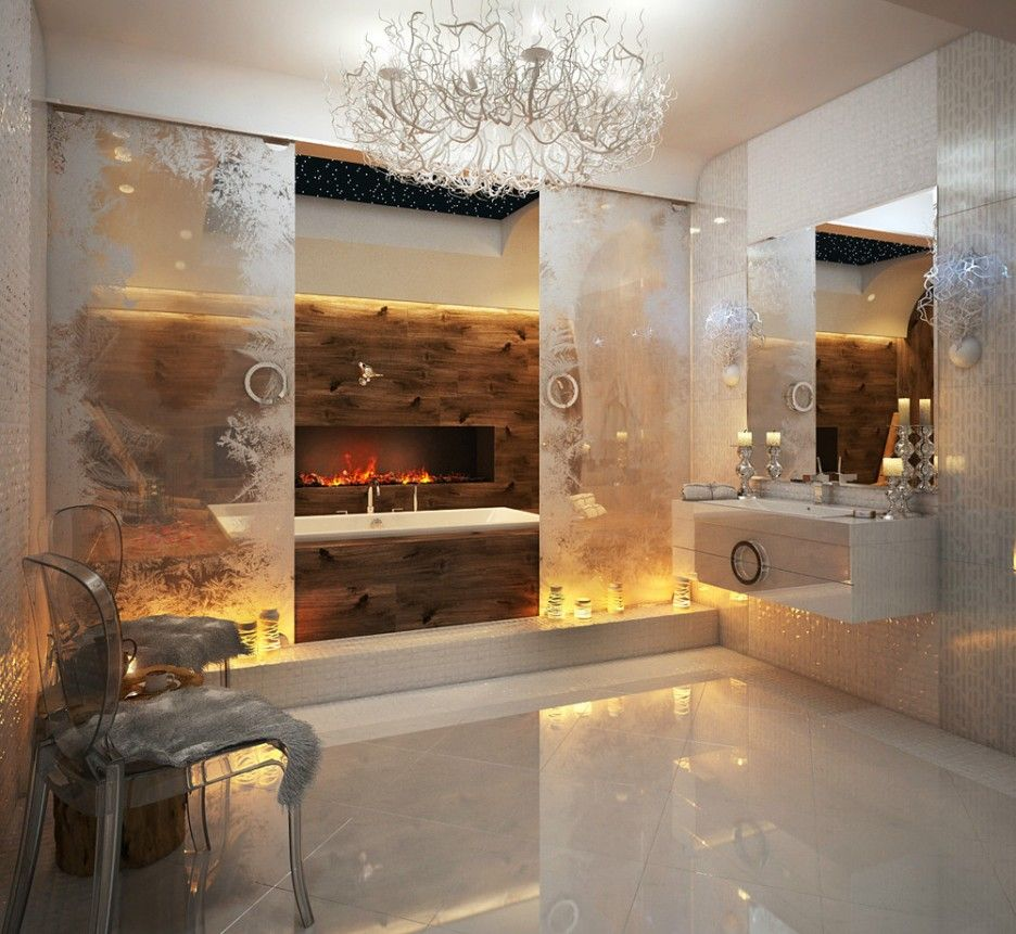 Incredible Modern Luxury Bathroom Design Features Rectangle Shape Soaking Bathubs And Built Modern Luxury Bathroom Luxury Bathroom Built In Electric Fireplace
