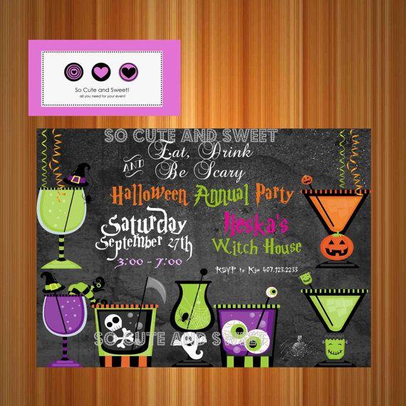 Halloween Invitation Printable #Halloween by socuteandsweet on Etsy