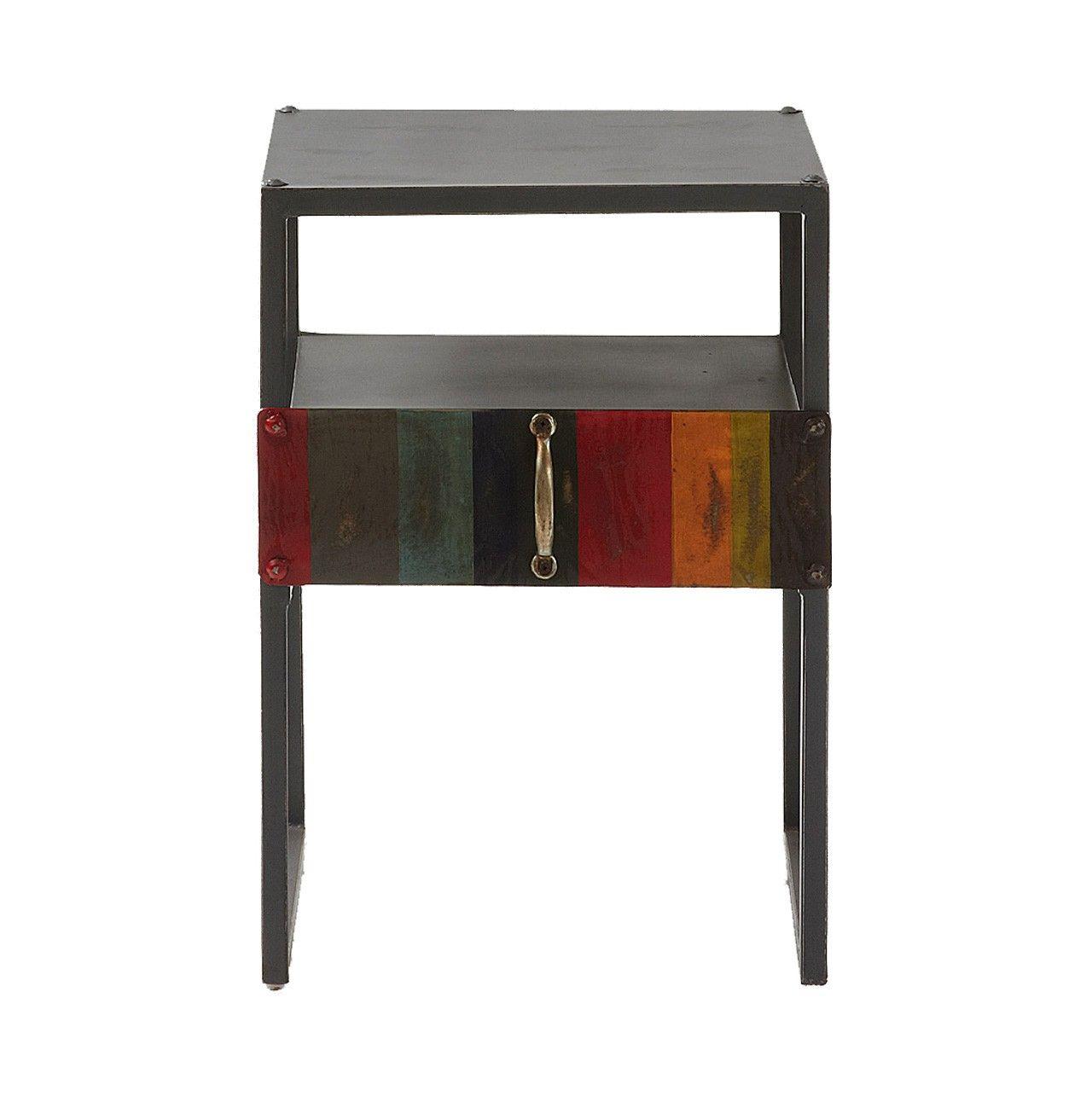 #Mesita #auxiliar con estructura de #metal #pintada en #gris oscuro #envejecido con #cajón #multicolor.