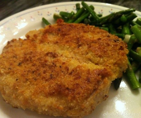 Looking for an entree idea? Here's an easy paleo almond crusted pork chop recipe!