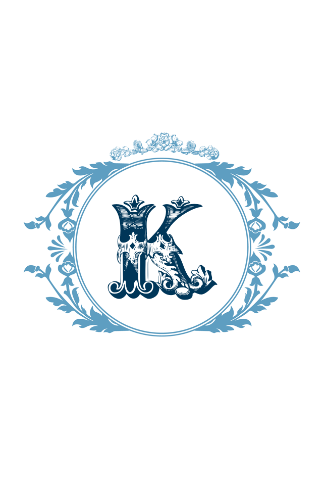 Pretty Blue Border Letter K K Logos Calligraphy Fonts