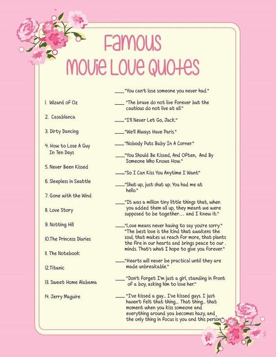 Pink Movie Quotes Bridal Shower Game Pink Flowers Movie Love