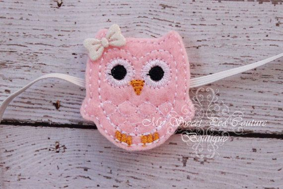 Who's Woo Light Pink & White Owl Headband  by MySweetPeaCouture