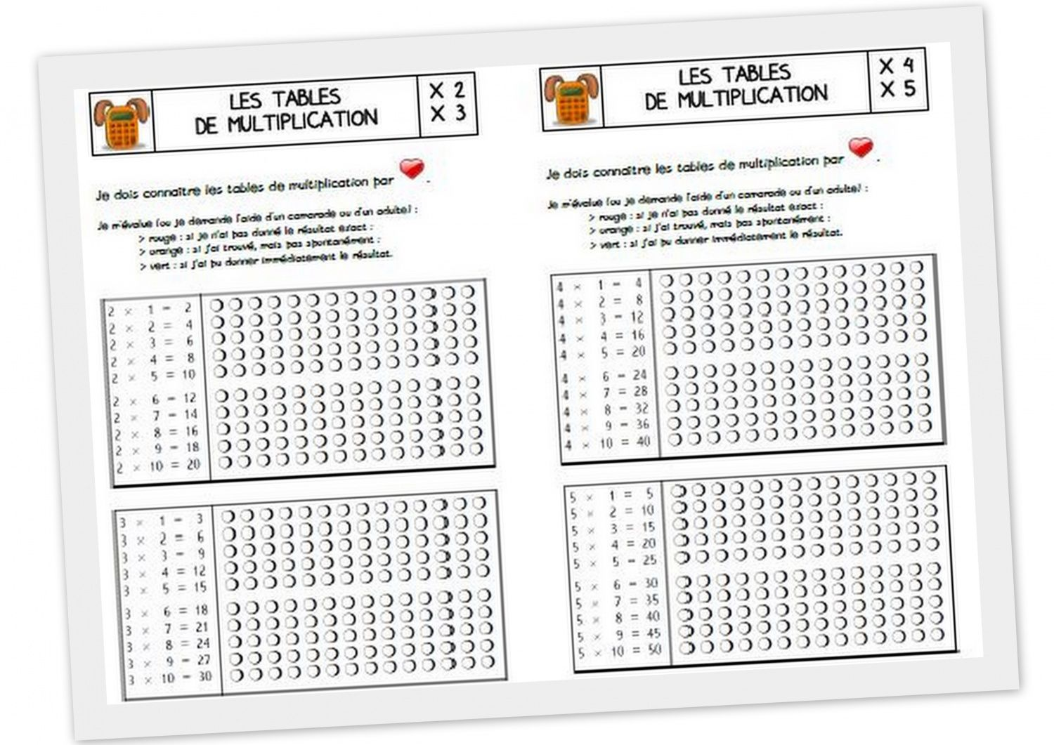 Les tables de multiplication cycle 3 contenus - Table d addition a completer ...
