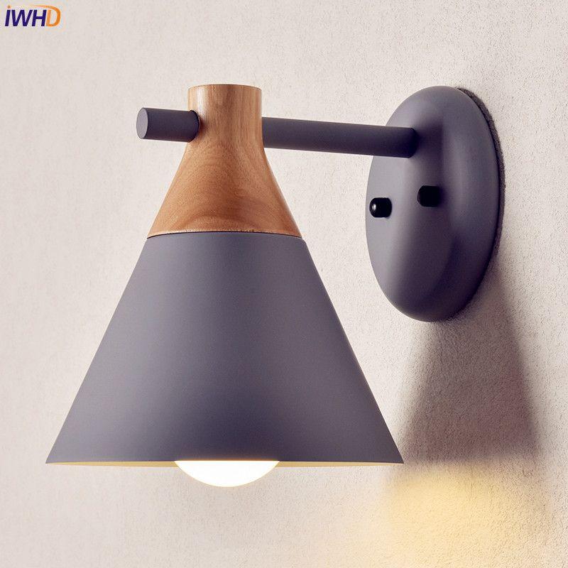 Nordic Iwhd Drewniane ściany Led światła Lampa Sypialnia