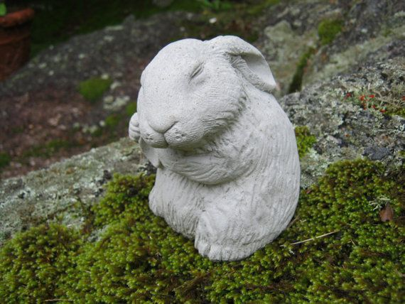 Rabbit Statue Bunny Rabbit Figurine Concrete By WestWindHomeGarden