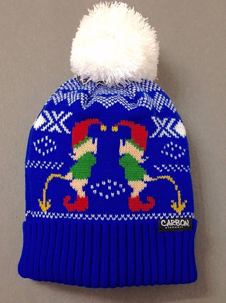 1b1bed9ba002a Funny URINATING CHRISTMAS ELF POM BEANIE Ugly-Sweater-Knit Peeing Yellow  Snow  Carbon  Beanie