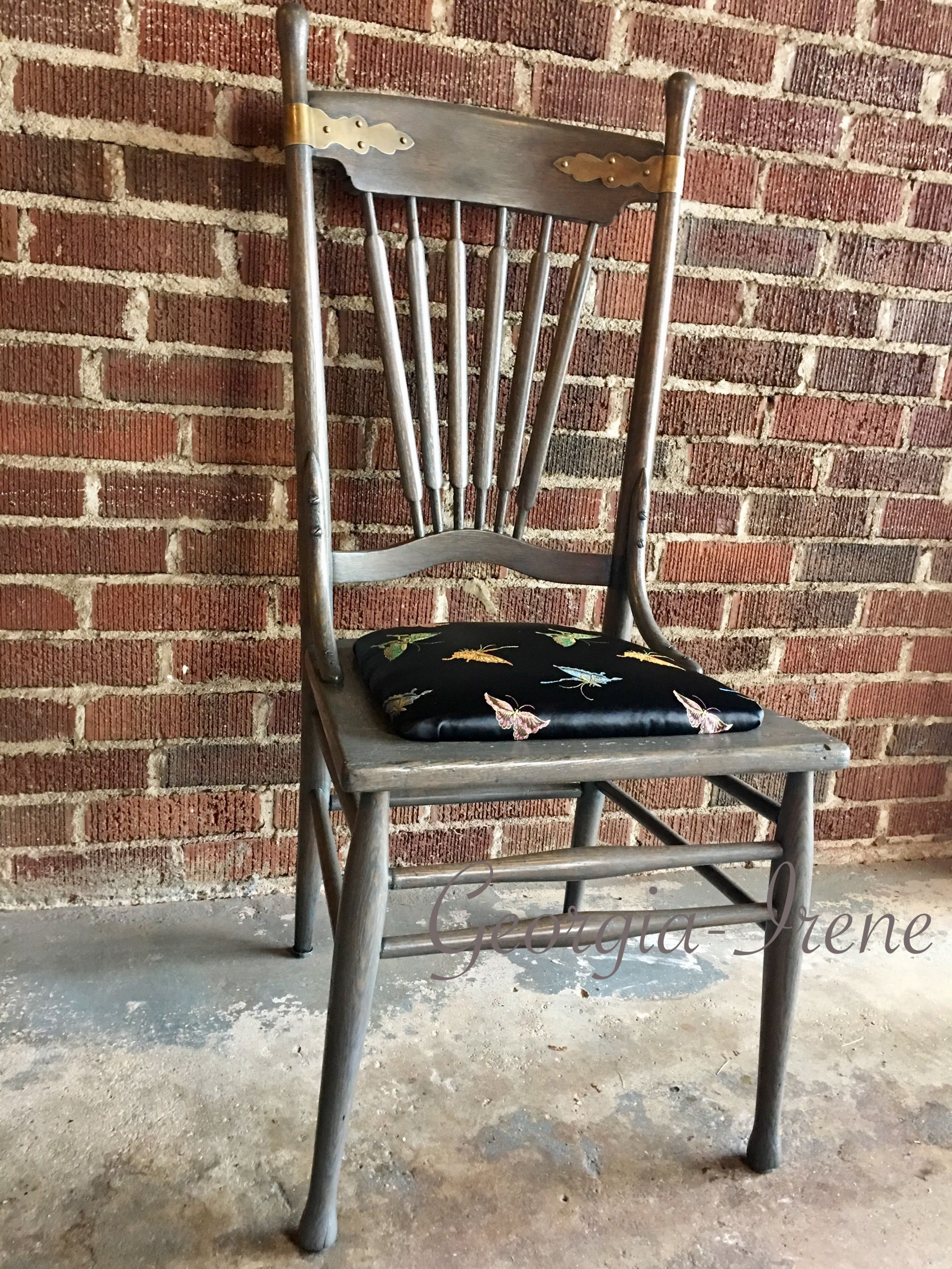 Antique Accent Chair with brass hardware, $85