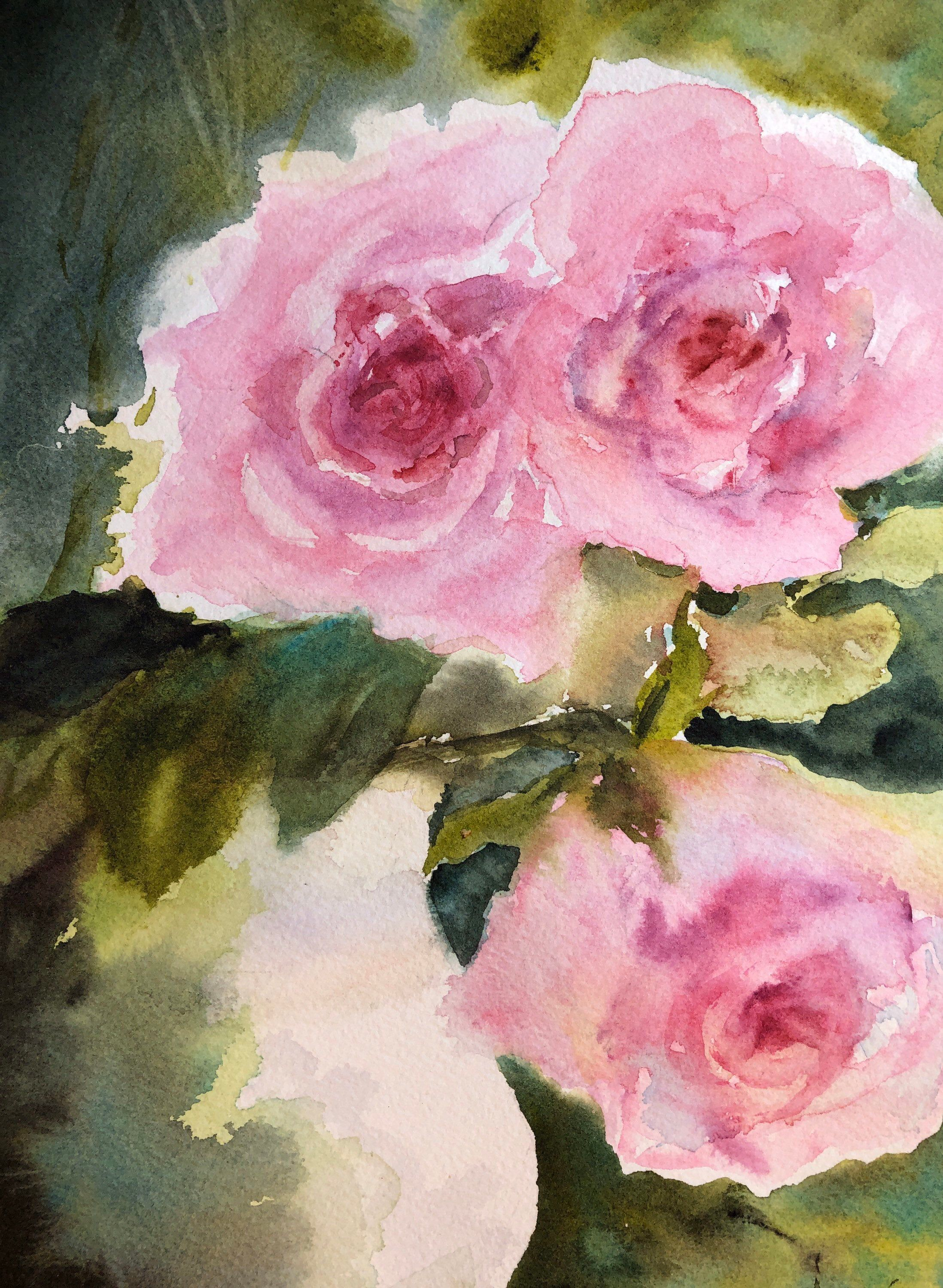 Roses In Jug Original Watercolor In 2020 Arches Watercolor Paper