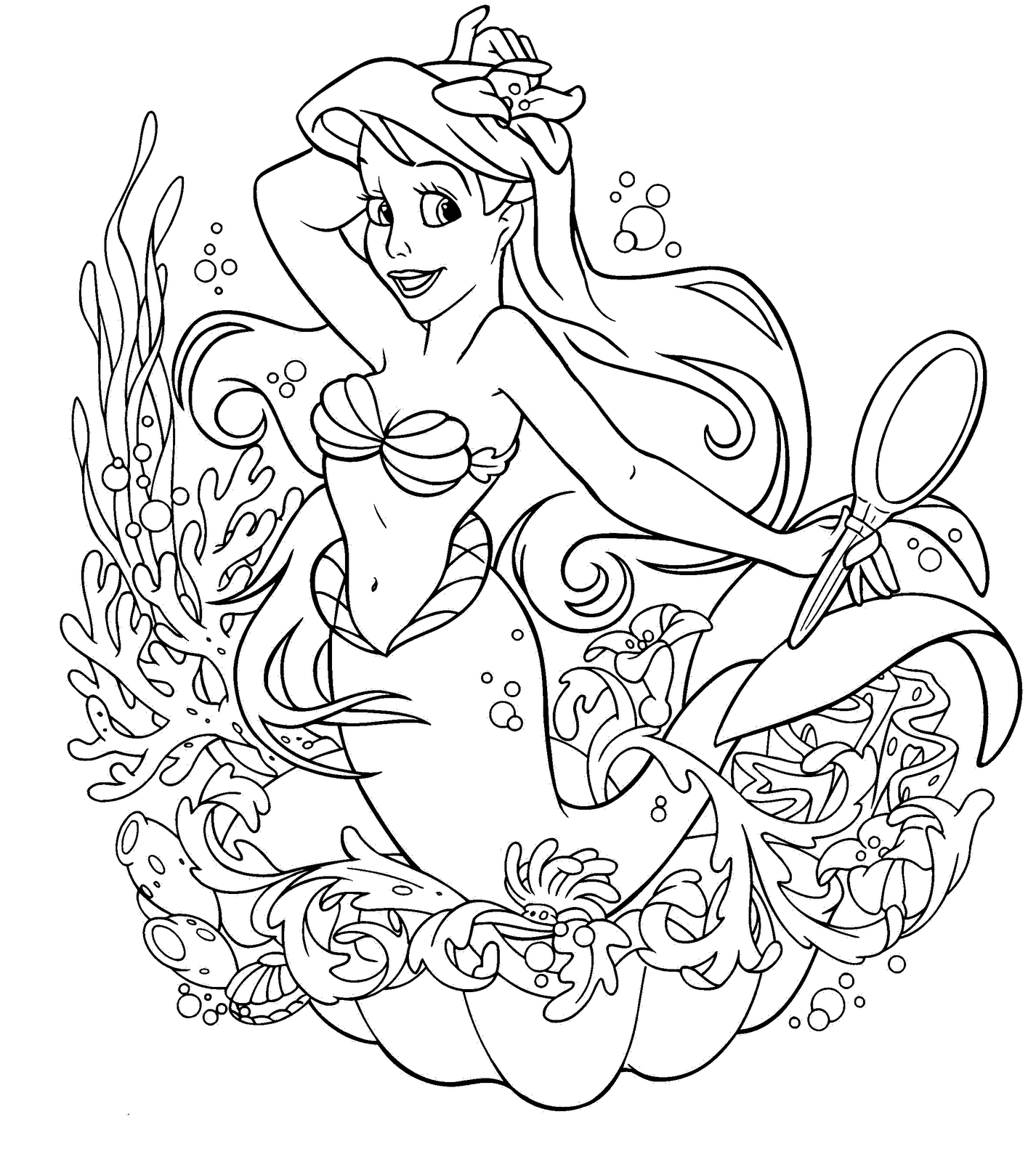 disney princess mermaid coloring pages - Disney Princess Coloring Pages To Print For Free