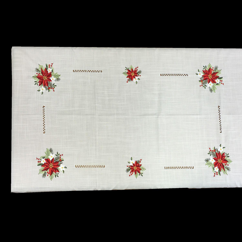 Mantel de Navidad bordado a mano, con un diseño de flores blancas y ...