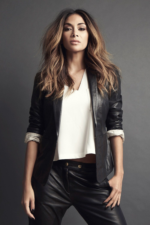 Nicole Scherzinger Wearing Leather Blazer Cropped Pants Jacket