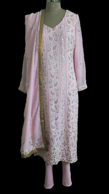 Pink Chikankari Suit | Chikankari suits, Shirts for girls