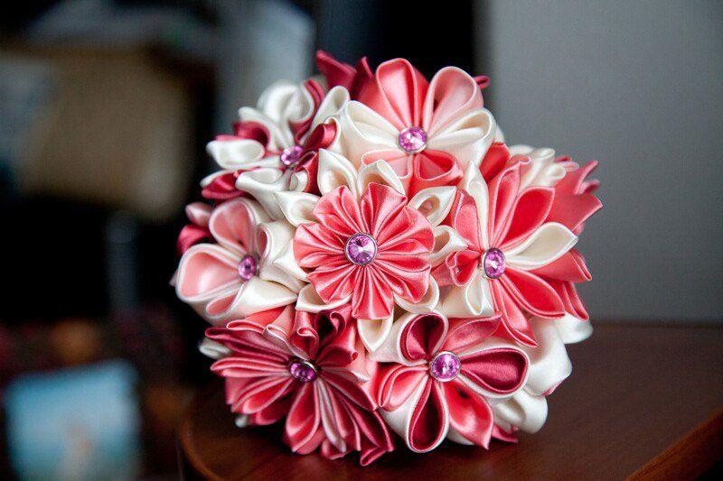 Цветов купить, букет из канзаши своими
