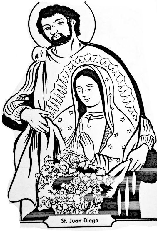 saint juan diego and virgin of guadalupe coloring pages