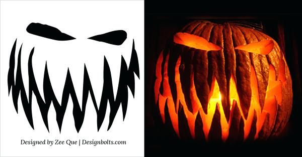 Free Scary Pumpkin Carving Ideas Templates Patterns Printable Easy