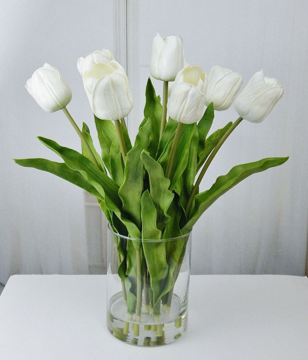 Large white tuliptulips silk floral arrangement faux water large white tuliptulips silk floral arrangement faux water acrylic illusion glass vase real touch flowers reviewsmspy