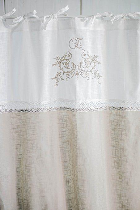 Flora cappuccino bestickt Vorhangset mit Spitzenborte 2x(120x250cm ...