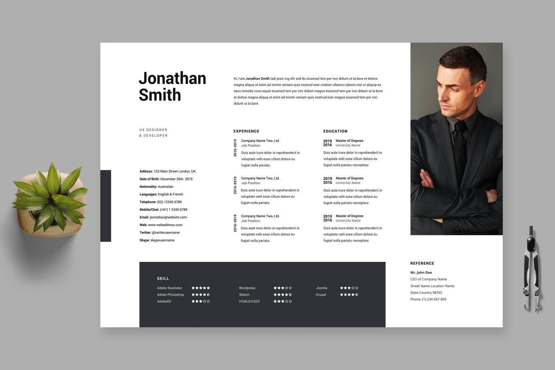 clean minimal resume    cv template 30 by boostock on