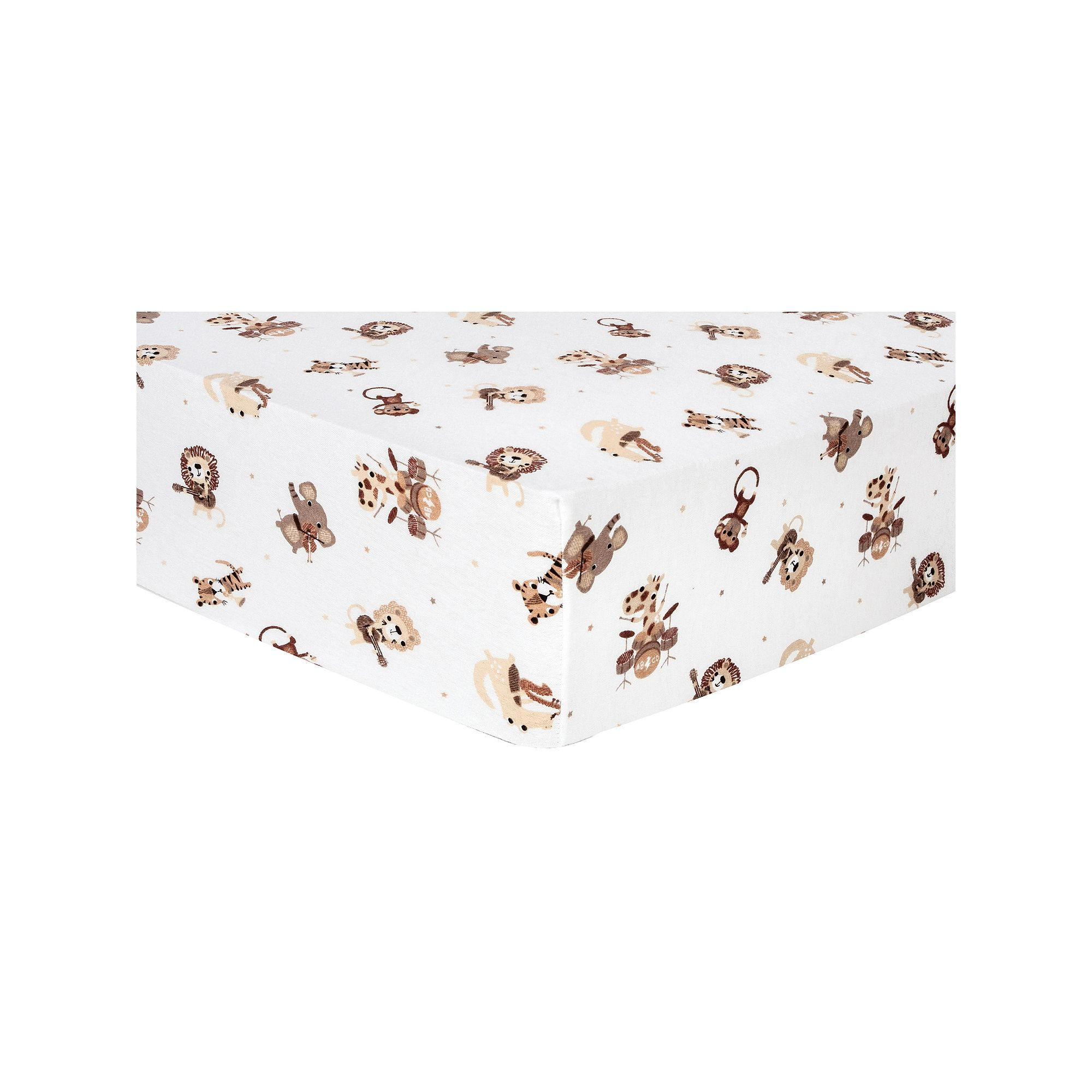 Trend Lab Zoo Animal Flannel Fitted Crib Sheet Zoo