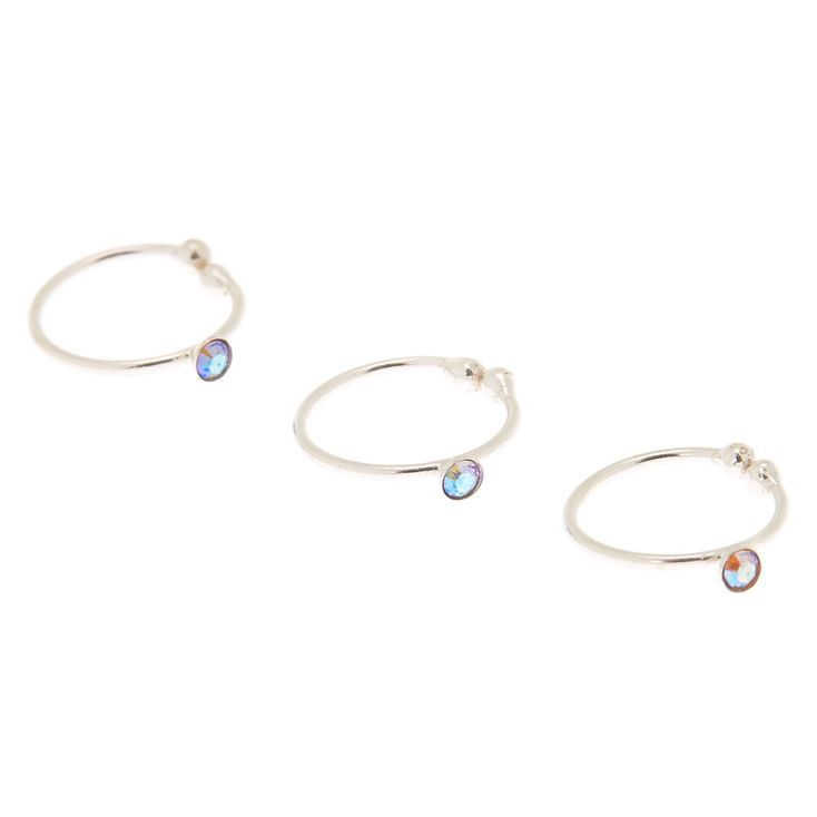 Claire S Silver Swarovski Crystal Faux Nose Ring 3 Pack Faux