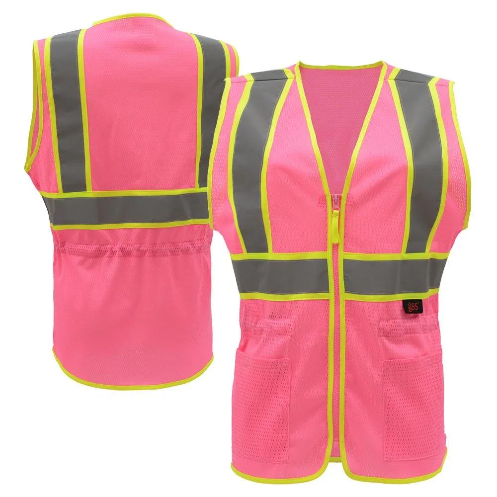 Gss Safety 7806 Pink Series Enhanced Visibility Hi Vis Pink Ladies Fit Mesh Safety Vest In 2020 Pink Ladies Safety Vest Lady