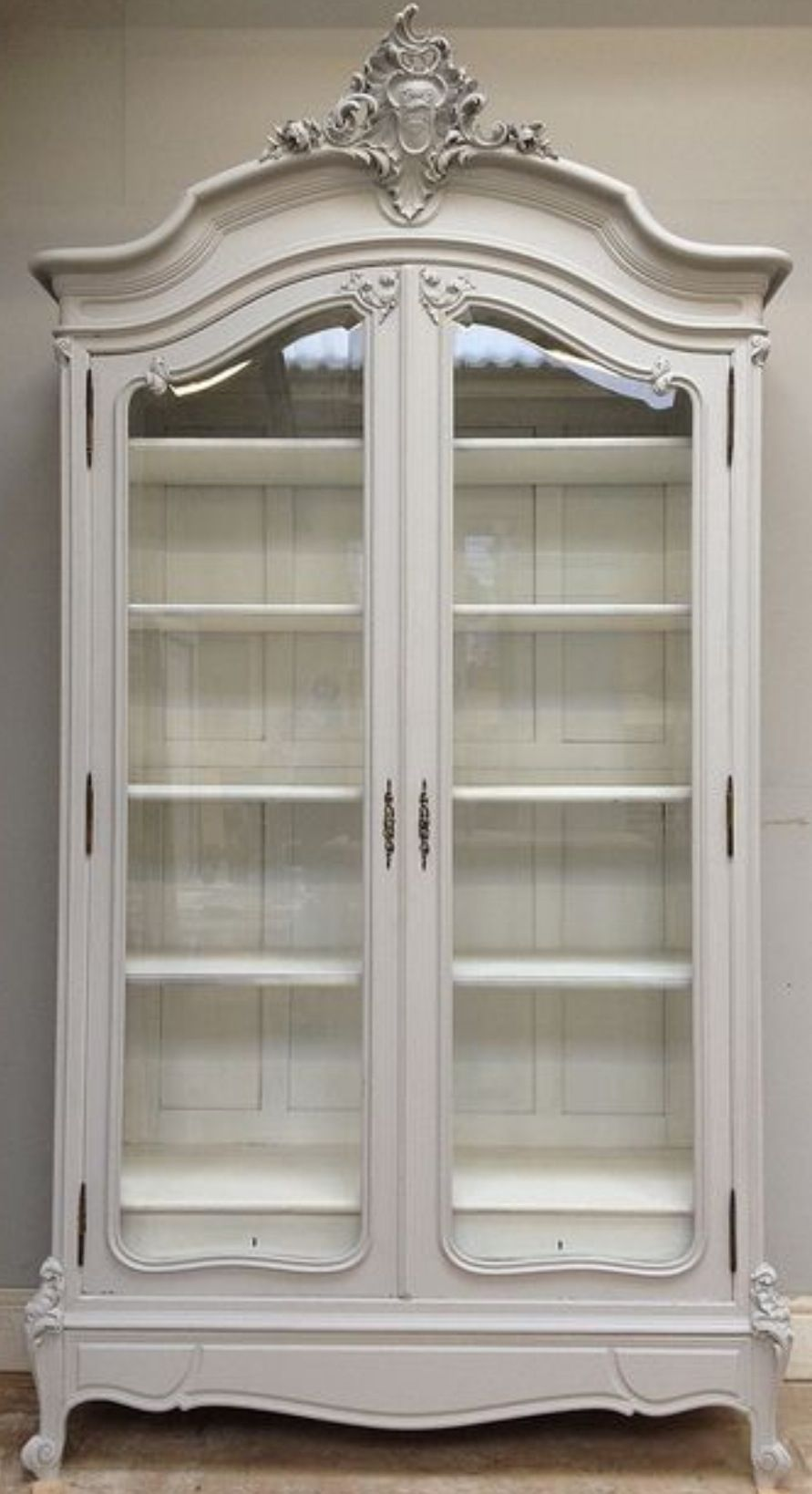 French Antique Glass Front Armoire