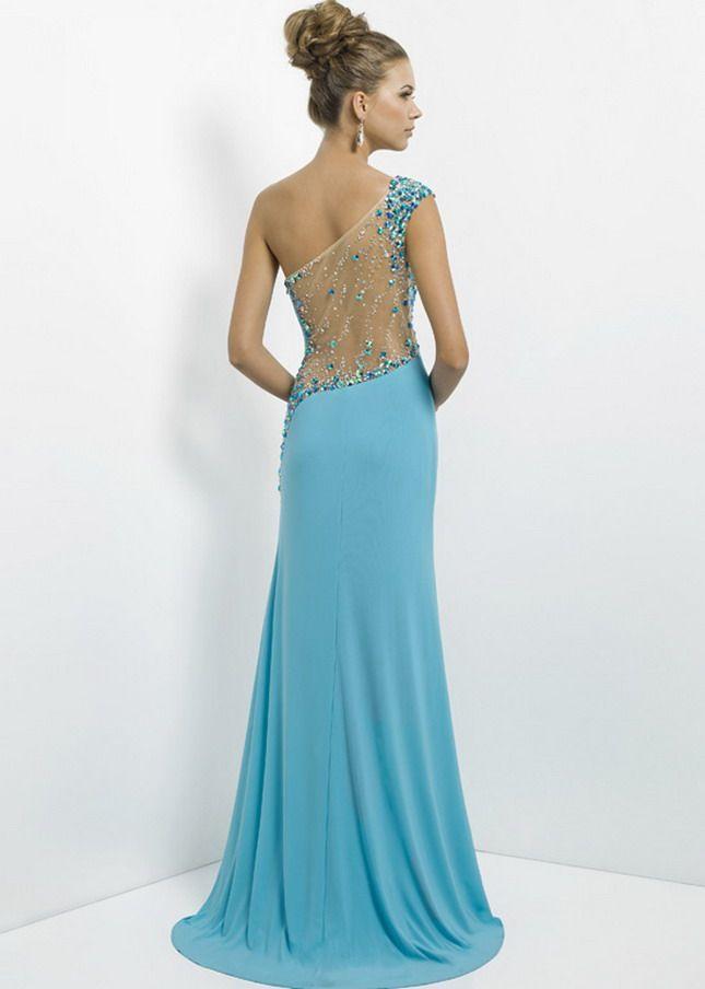 Aqua Long Slit Jersey Rhinestone Beaded illusion One Shoulder Prom ...