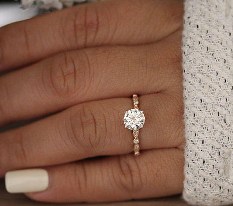 1.00cts Round Classic Moissanite Engagement Ring, Rose Gold Moissanite Bridal Ring, Diamond Milgrain Band, Promise Ring, Handmade Ring