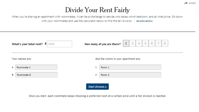 This Calculator Helps Roommates Choose Rooms And Split The Rent Fairly Apartment With Roommates Roommate Rent