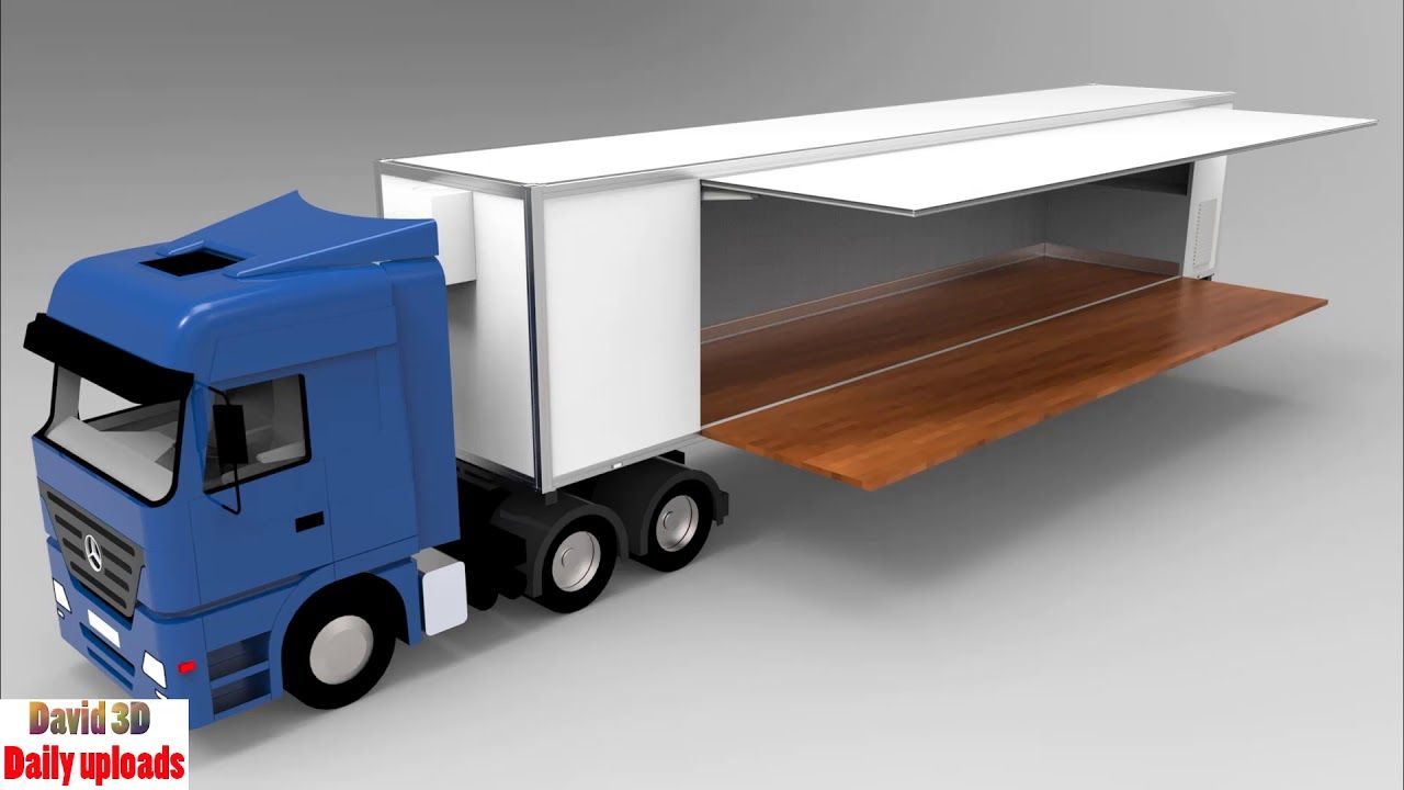 Semi Trailer Side Opening as Stage || Download free 3D cad