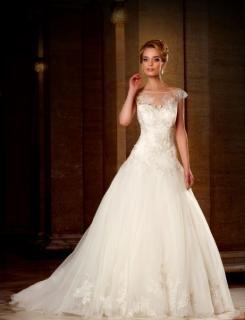Unworn Modeca Handmade Ivory Tulle Lace Bead Petite Wedding Dress Size 6