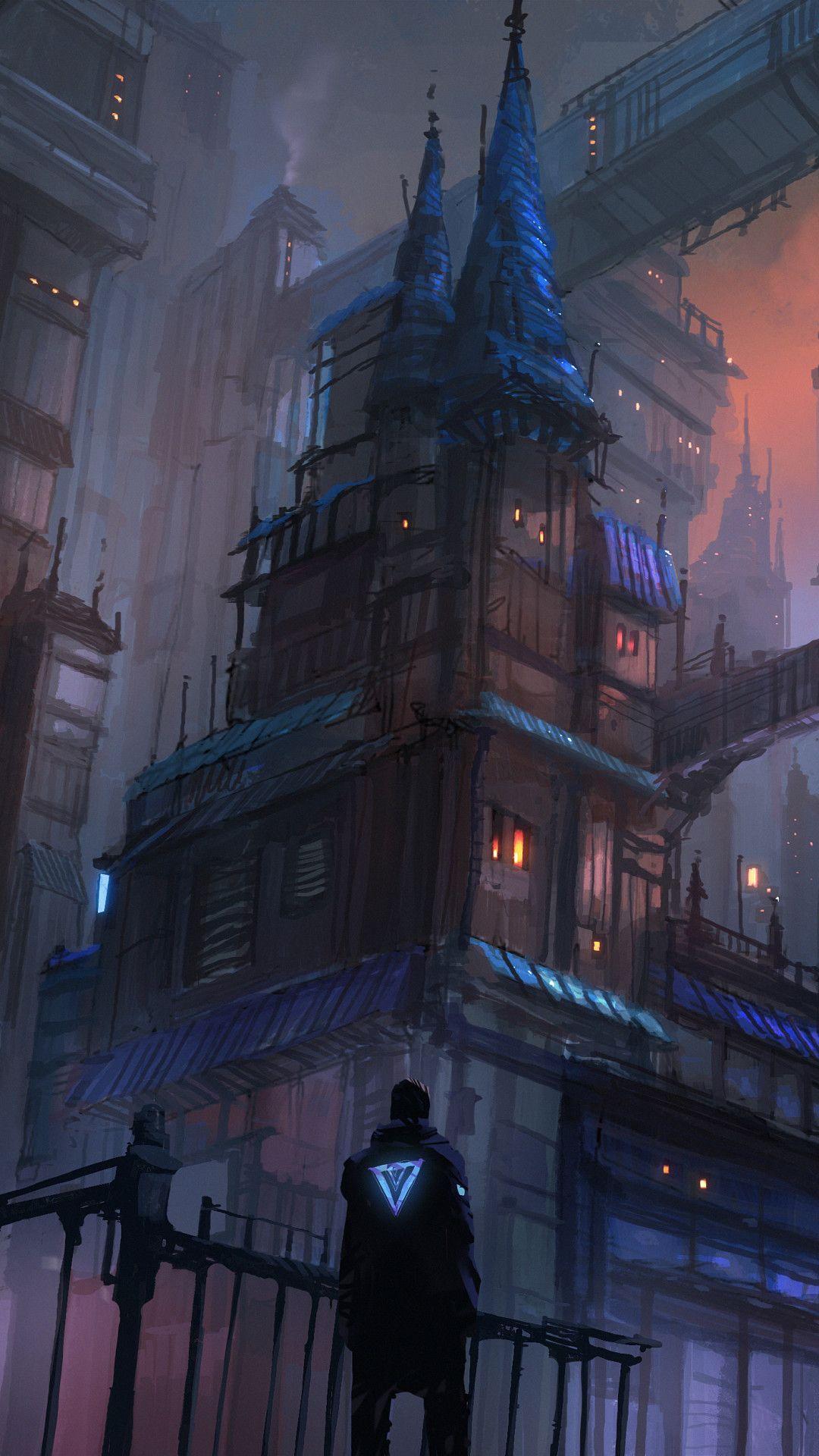 Cyberpunk City Evening Mood 5k Mobile Wallpaper (iPhone