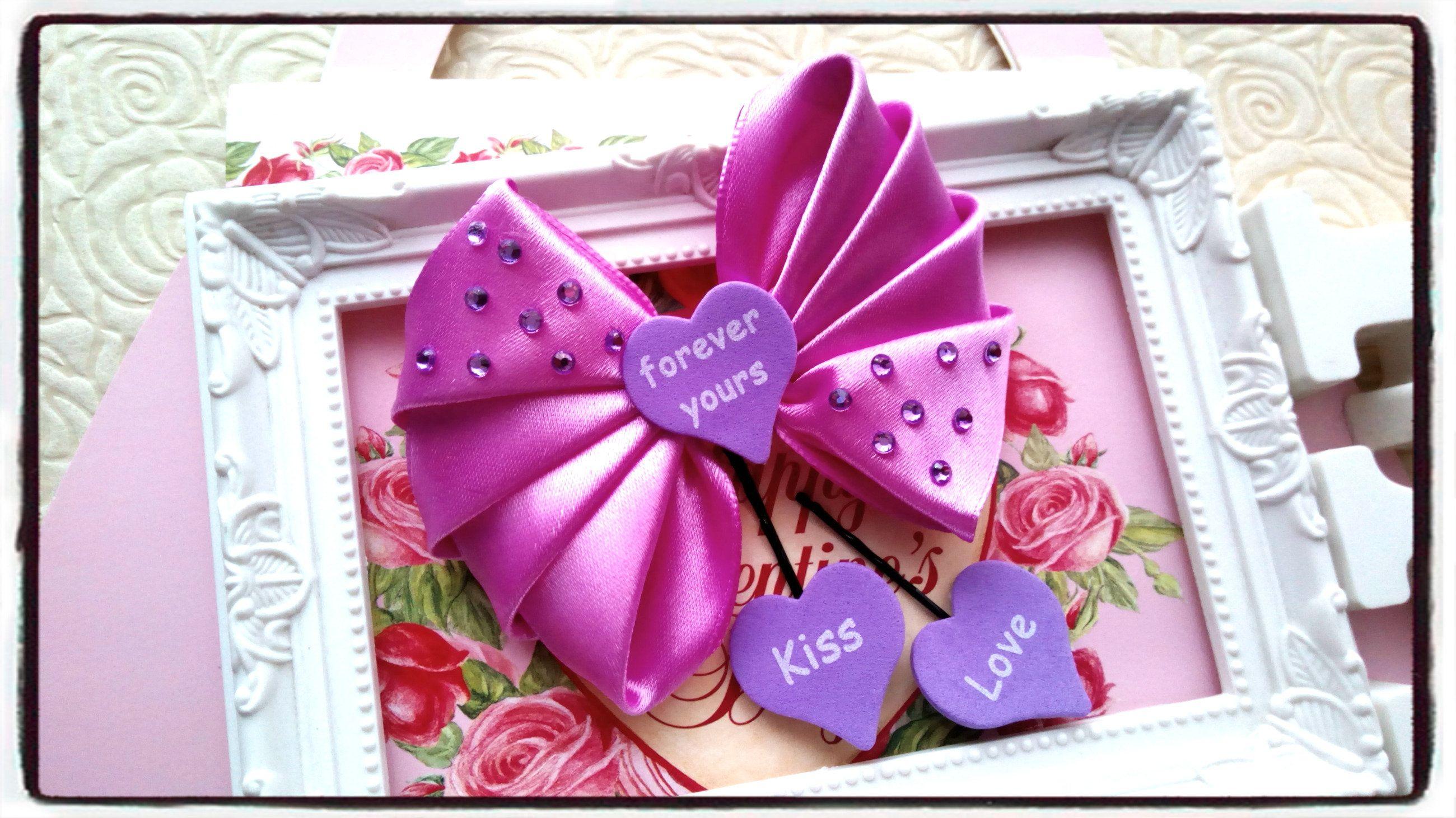 Pink /& Purple Heart Valentine/'s Day Bow Valentine/'s Day Hair Wear Red