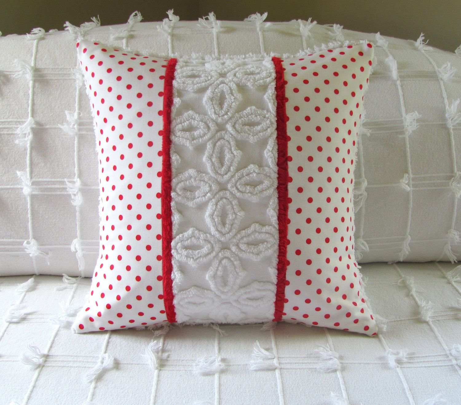 chenille pillow cover 16 X 16 RED DOTS Christmas pillow red vintage chenille cushion cover. & Pin by 🌈Vonnie🦄 Davis on Color Combos❤Red♡White | Pinterest ... pillowsntoast.com
