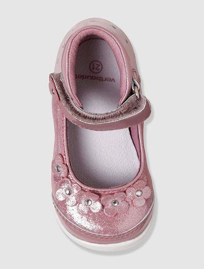 Zapatos tipo babies de piel bebé niña ROSA MEDIO LISO CON MOTIVOS+VERDE CLARO ESTAMPADO