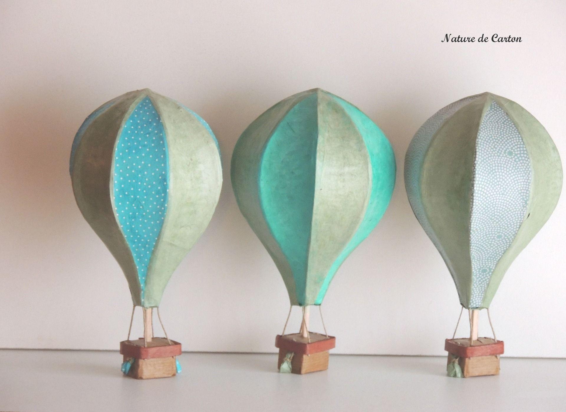 Centre de table montgolfi re 23 cm mariage 2014 th me vert pastel turquoise et pois - Montgolfiere en papier ...