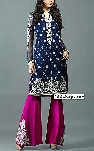 bf193261eaf2 Blue/Pink Crinkle Chiffon Suit | Buy Pakistani Fashion Dresses and Clothing  Online in USA, UK