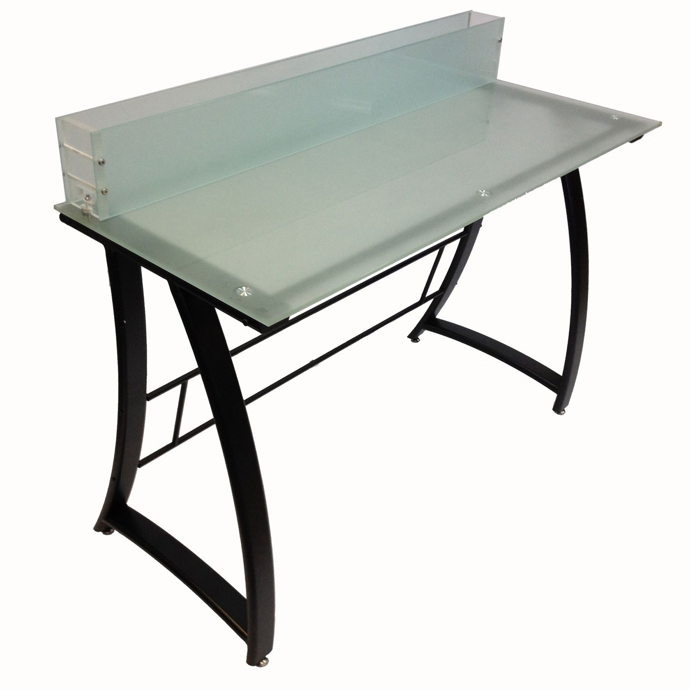Executive office table with glass top buddy products  workstation with full frosted tempered glass
