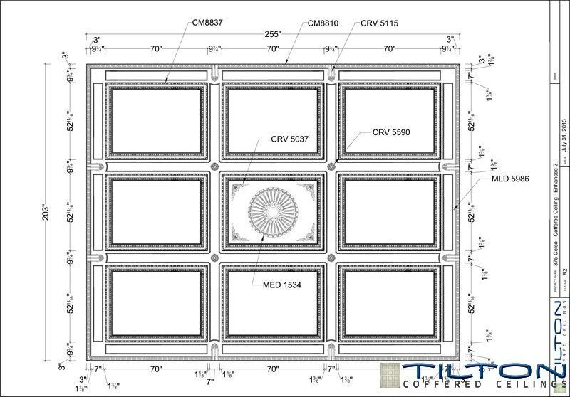 Coffered Ceiling Design Drawing - Square Grid Ornate 03 ...