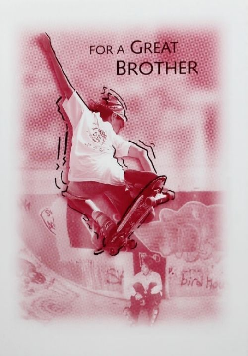 For A Great Brother Birthday Greeting Card Skateboarding Theme