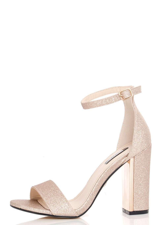 56175bcf1d849 Quiz Champagne Block Heel Sandals